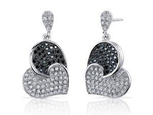 Spectacular Tilted Heart Black and White CZ Sterling Silver Rhodium Finish Dangle Earrings