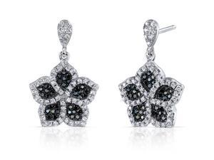 Intricate Flower Design Black and White CZ Sterling Silver Rhodium Finish Dangle Earrings