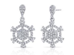 Snowflake Design Machine Cut White CZ Sterling Silver Rhodium Finish Dangle Earrings
