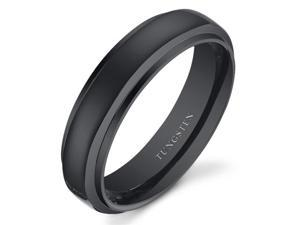 Black Color Rounded Top 6mm Mens and Womens Tungsten Wedding Band Ring Available in Sizes 5 to 13