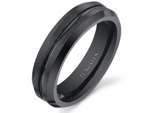 Center Groove 5mm Womens Black Tungsten Wedding Band Ring Available in Sizes 5 to 8