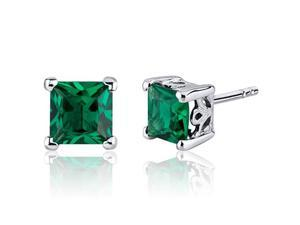 2.00 Ct. TW. Princess Cut Created Emerald Stud Earrings in Sterling Silver Rhodium Finish