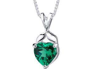 3.00 cts Heart Shape Emerald Pendant in Sterling Silver Rhodium Finish