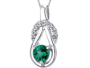 Elegant Glamour 0.50 carats Round Cut Sterling Silver Rhodium Finish Emerald Pendant with 18 inch Silver Necklace