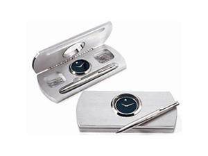 Movado Aluminum Desk Clock Set with Pen