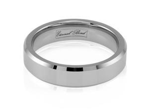ANIMO-6MM Tungsten Carbide 6mm Beveled  Edged Wedding Band Ring (Size 6-13)