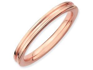 Sterling Silver Stackable Expressions Pink-plated Grooved Ring