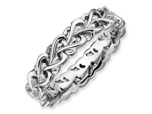 Sterling Silver Stackable Expressions Polished Intertwined Heart Ring