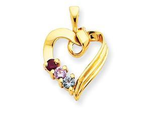 14K Yellow Gold  3 Stone Family Pendant Mounting, Stones Not Included
