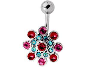 Modern Girl Flower Multicolor Gemstone Belly Button Ring