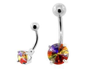 Solitaire Unique Multicolor CZ Gemstone Belly Ring