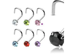 PINK - Sterling Silver Nose Ring Screw - 3mm Prong Set Gemstone