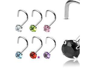 RED - Sterling Silver Nose Ring Screw - 3mm Prong Set Gemstone