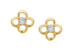 Hollow Daisy with Cubic Zirconia 14k Yellow Gold Screw Back Earrings