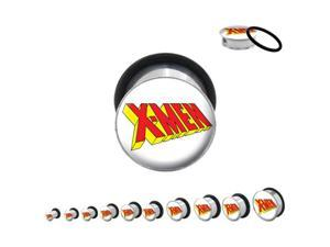 "7/8"" (22mm) - Pair of Single Flared Steel Classic X-Men Logo Plugs"