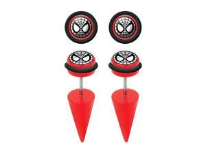 Pair of Web Head Spider-Man Cheater Taper Plugs Earrings