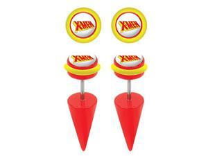 Pair of Red Classic X-Men Logo Cheater Plugs Earrings