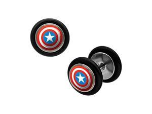 Captain America's Shield Logo Cheater Plug Earrings