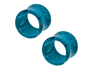 "9/16"" (14mm) - Aqua & Black Marble Acrylic Double Flared Tunnel Plugs - Pair"