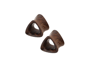 2G (6mm) Organic Coconut Wood Triangle Double Flared Tunnel Plugs - Pair