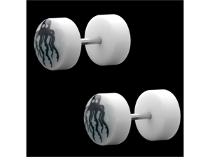 Pair of Angry Octopus White Fake Cheater Plug Acrylic Earring - 22G