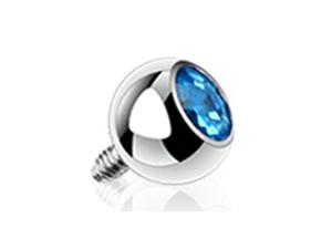 Aqua 5mm CZ Grade 23 Titanium Dermal Charm 3mm Replacement Ball - 14G