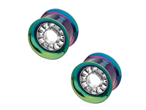 "5/8"" (16mm) - Green Titanium Channel-Set CZ Double Flare Plugs  - Pair"