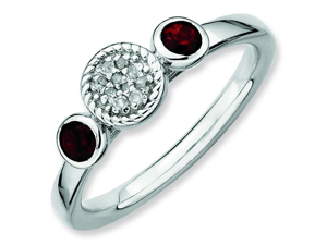 Size 10 - Double Garnet & Diamond Accent Sterling Silver Stackable Ring