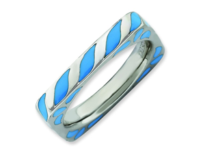 Size 5 - Blue Water Drop Square Enamel Band Sterling Silver Stackable Ring