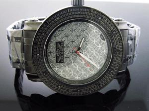 King Master 12 Diamond Watch W/ Black Case Silver Face