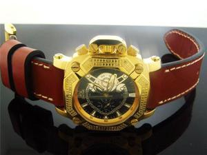 Techno Master 0.25CT Diamond Square Yellow Gold Watch