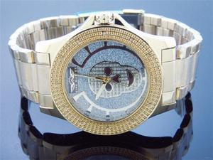 Men King Master 50MM Round 12 Diamond Skull Face watch