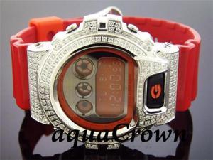 Men's Casio G Shock CZ white crystal Watch RED