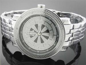 Men's Techno Master 50MM 12 diamonds Silver face watch