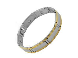 Beautiful Stainless Steel Link Magnetic Bracelet with Gold PVD (9 IN)