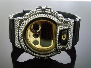 Casio G Shock Black Stainless steel White Full Case CZ Crystal DW6900 Gold face