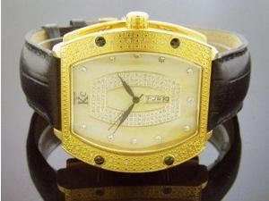 Techno Com By Kc 0.25ct Diamond 46mm Yellow M-o-p Face Yellow Gold Case