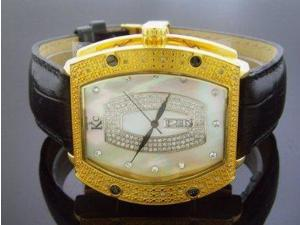Techno Com By Kc 0.25ct Diamond 46mm White M-o-p Face Yellow Gold Case