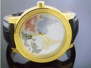 Techno Com By Kc Full Case Diamonds 55mm World Map Face Watch