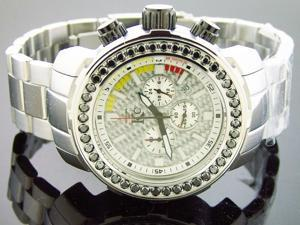 Men Techno com kc 48mm Wee genuine 4.50CT black large diamonds silver face watch