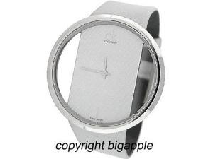 Calvin Klein Swiss Silver Leather Band Ladies Watch K9423193