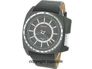 Dkny Black Leather Band 50 Meter Mens Watch NY1365