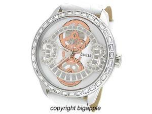 Guess Crystal White Leather Band Ladies Watch U12597L1