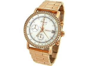 DKNY CHRONOGRAPH ROSE GOLD TONE 50M LADIES WATCH