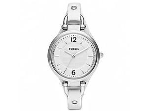 Fossil Georgia White Dial White Leather Ladies Watch ES2829