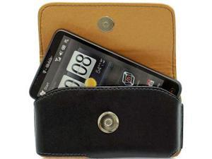 T-Mobile HTC HD2 Horizontal Noble Leather Pouch Case w/ Removable Spring Belt Clip (Black)