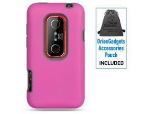 HTC EVO 3D Platinum Rubber Case (Pink on Gray)