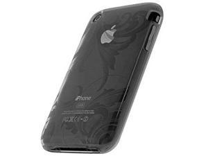 Apple iPhone 3G Silicone Jelly Skin Case (Leaf Design) (Black)