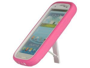 Samsung Galaxy S III Premium Hybrid Case w/ Kickstand (Pink on White)