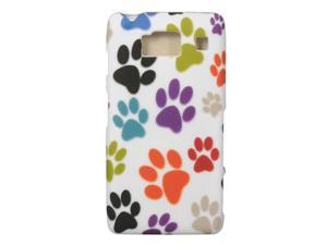 Motorola Droid RAZR HD Rubberized Proguard Case (Rainbow Dog Paws) (White)